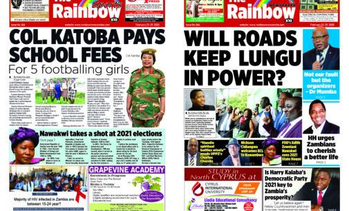 Rainbow Newspaper Zambia Edition 66 Sunday 23rd – Saturday 29th February 2020