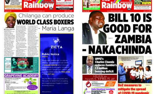 Rainbow Newspaper Zambia Limited Edition 068 April 6 – 12, 2020